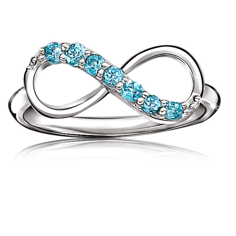 Blue Topaz Gemstone Infinity Ring in Sterling Silver