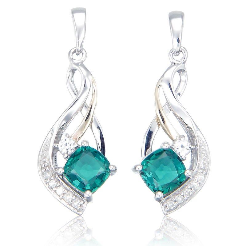 Diamond & Created Emerald Dangle Earrings