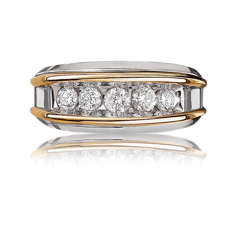 IBGoodman Men's 1/2ct. Diamond Band in 14k White & Yellow Gold