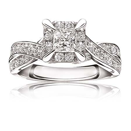 Alena. Princess-Cut 1ct. Diamond Halo Twist Engagement Ring in 14k White Gold