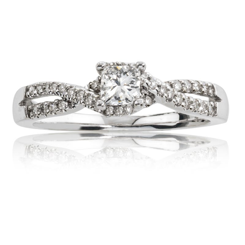 Iris. Diamond Princess-Cut Twist White Gold Engagement Ring