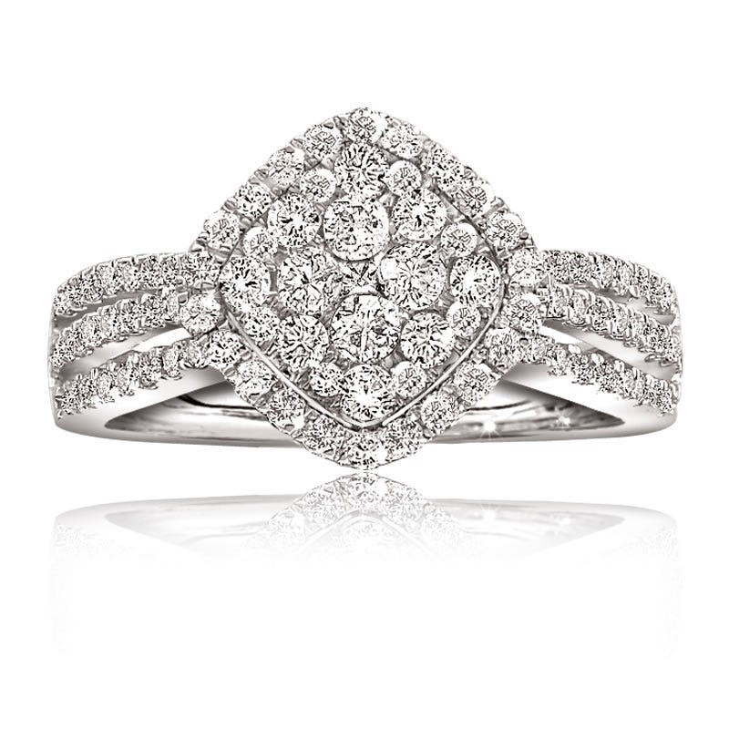 Diamond Cushion Shape 10K White Gold Ring 1ct. T.W.