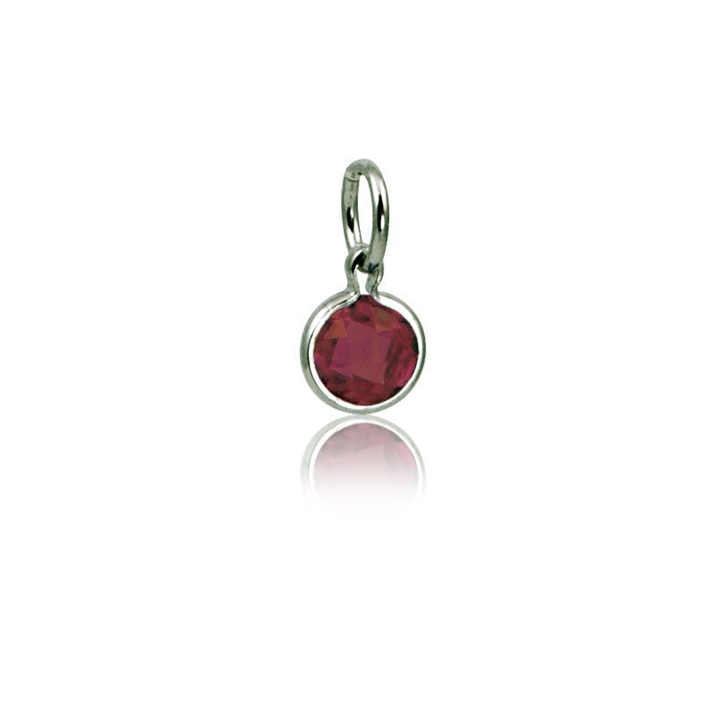 January Garnet Round Mommy Chic Birthstone Charm