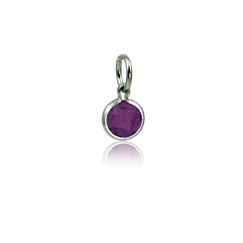 February Amethyst Round Mommy Chic Birthstone Charm