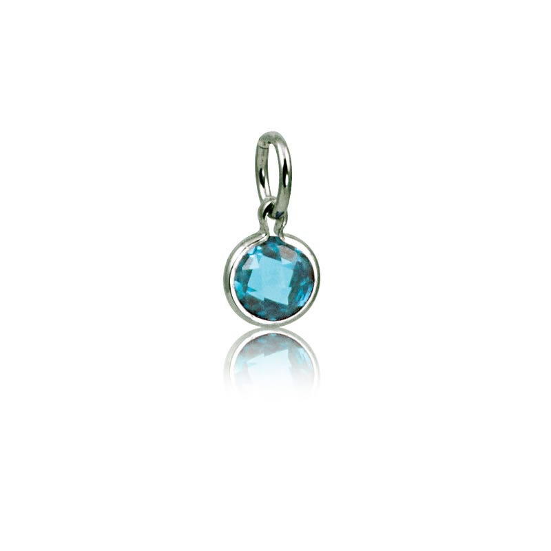 March Aquamarine Round Mommy Chic Birthstone Charm