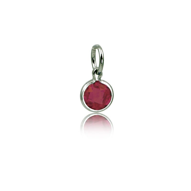 July Ruby Round Mommy Chic Birthstone Charm