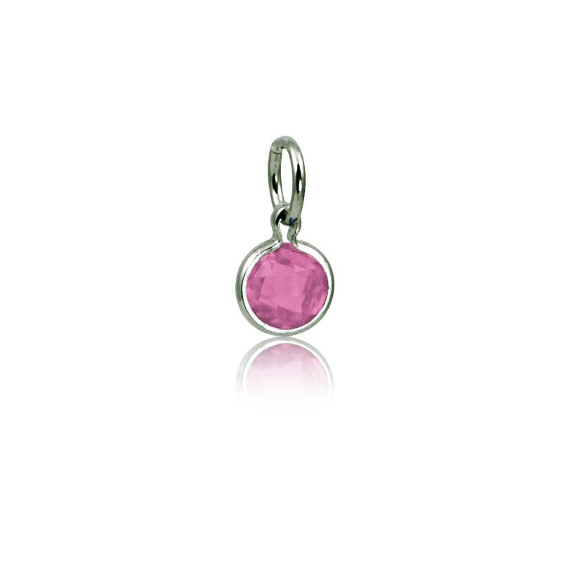 October Pink Tourmaline Round Mommy Chic Birthstone Charm