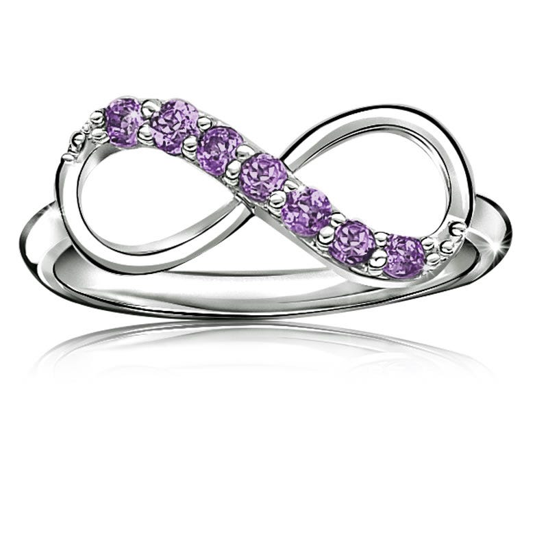 Amethyst Infinity Ring in Sterling Silver