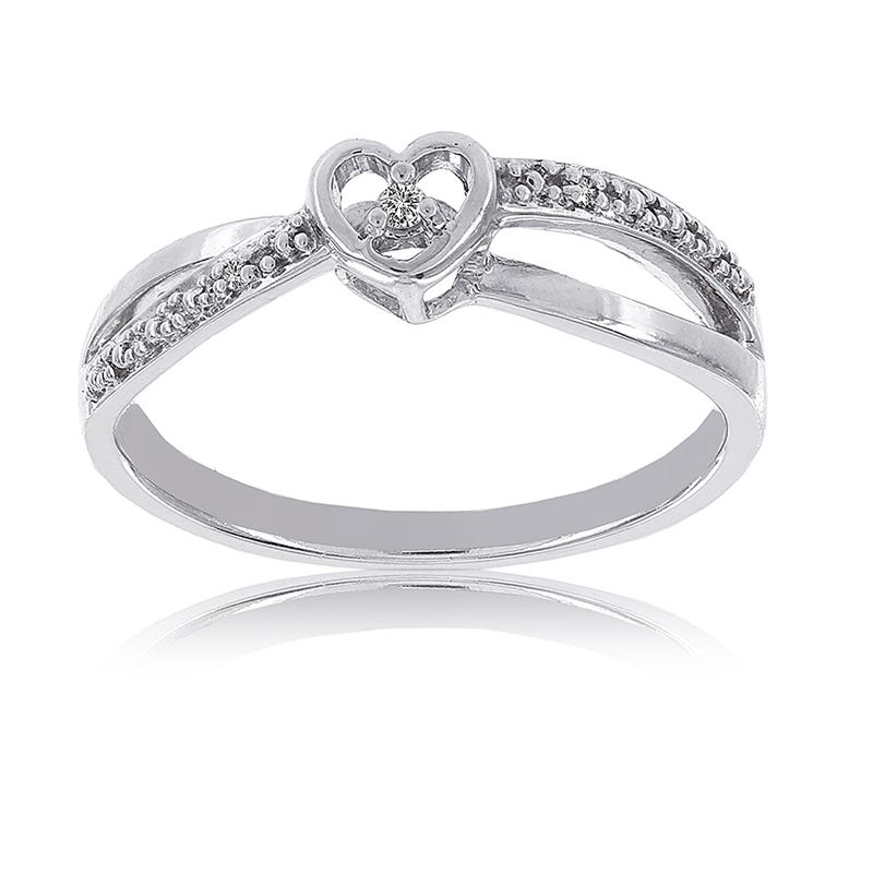 Sterling Silver Diamond Accent Heart-shaped Promise Ring