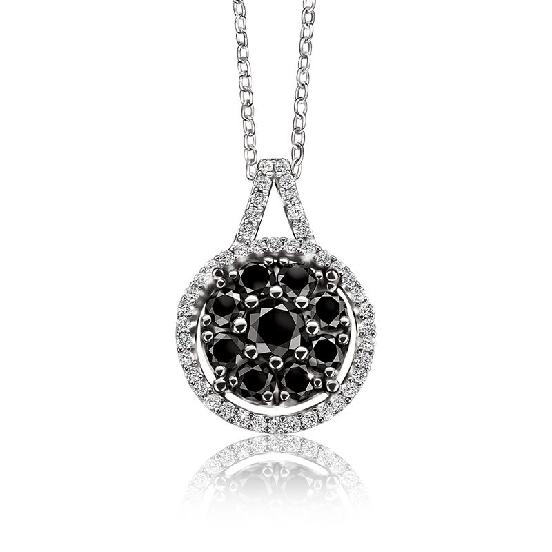 Black & White Diamond Halo Pendant ¾ ct. T.W.