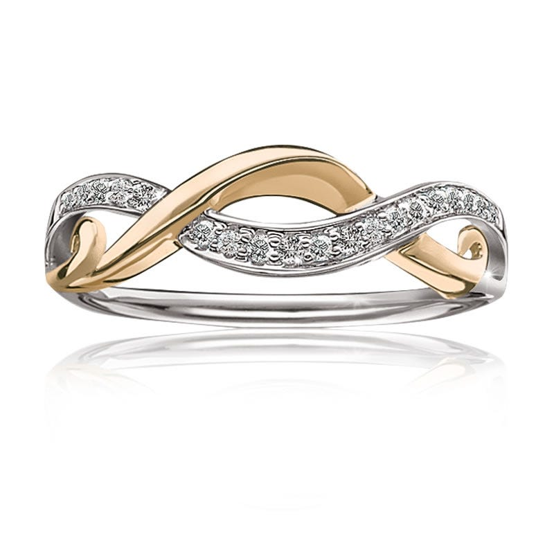 Diamond Infinity Crisscross Ring in 10k Yellow & White Gold