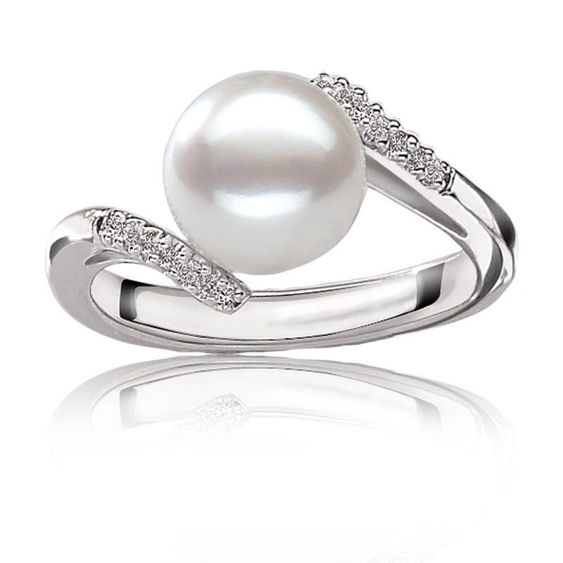 Freshwater Pearl & Diamond Ring 10K White Gold