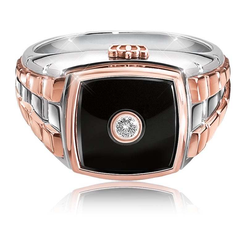 JK Crown® Men's Diamond & Onyx White & Rose Gold Ring