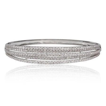 Diamond Bangle Multi-Row Bracelet
