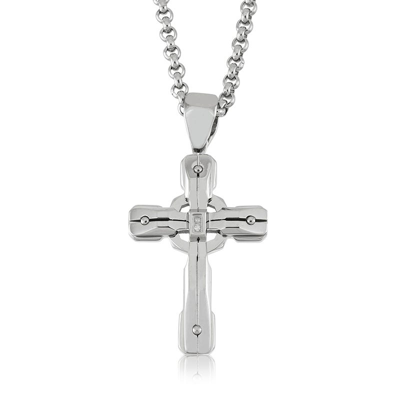 BLACK & BLUE Men's Diamond Cross in Stainless Steel