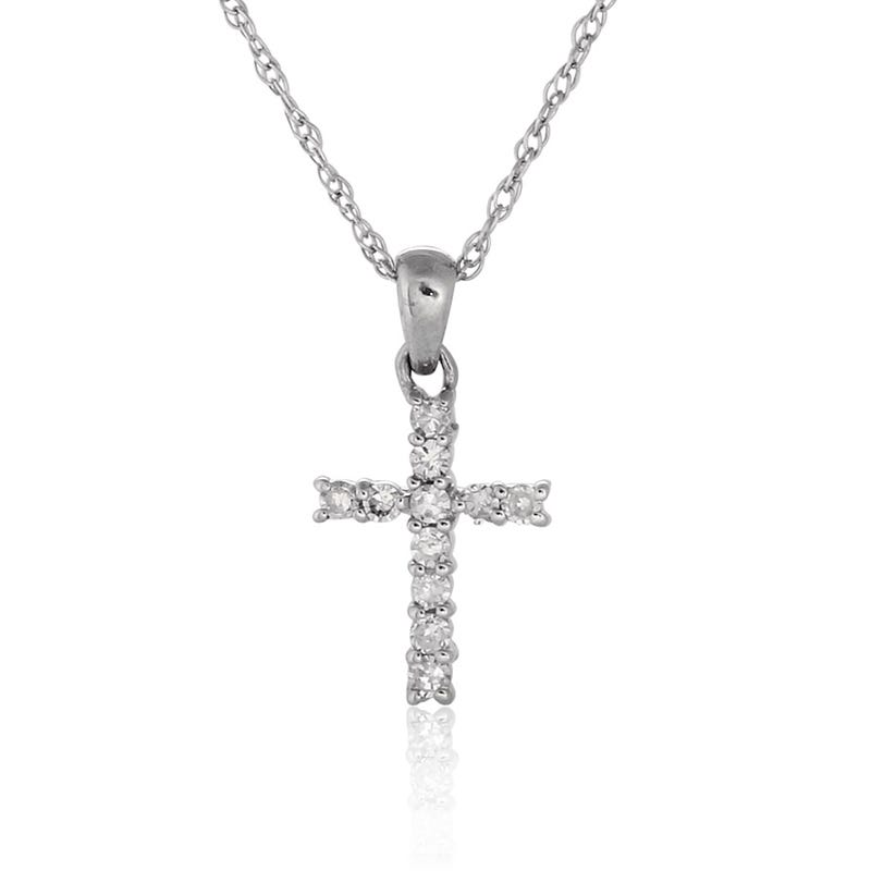 Diamond Cross Pendant Brilliant-Cut in 10K White Gold