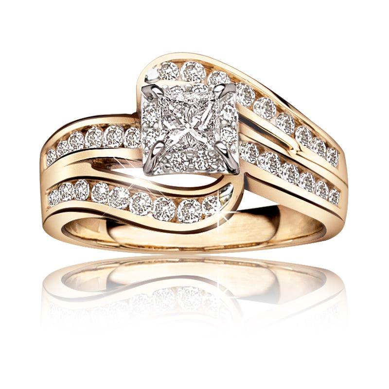 Audrina. Diamond 1ctw. Channel-Set Twist Engagement Ring 14k Gold