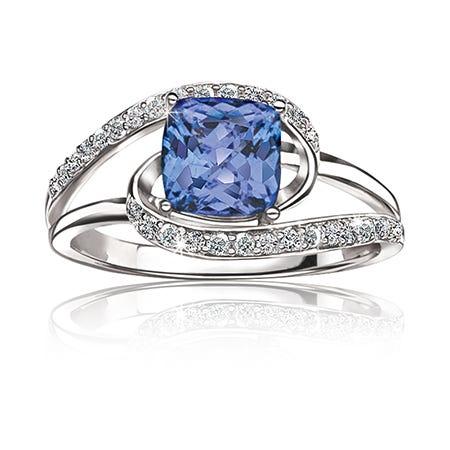 Tanzanite & Diamond Ring in 14k White Gold