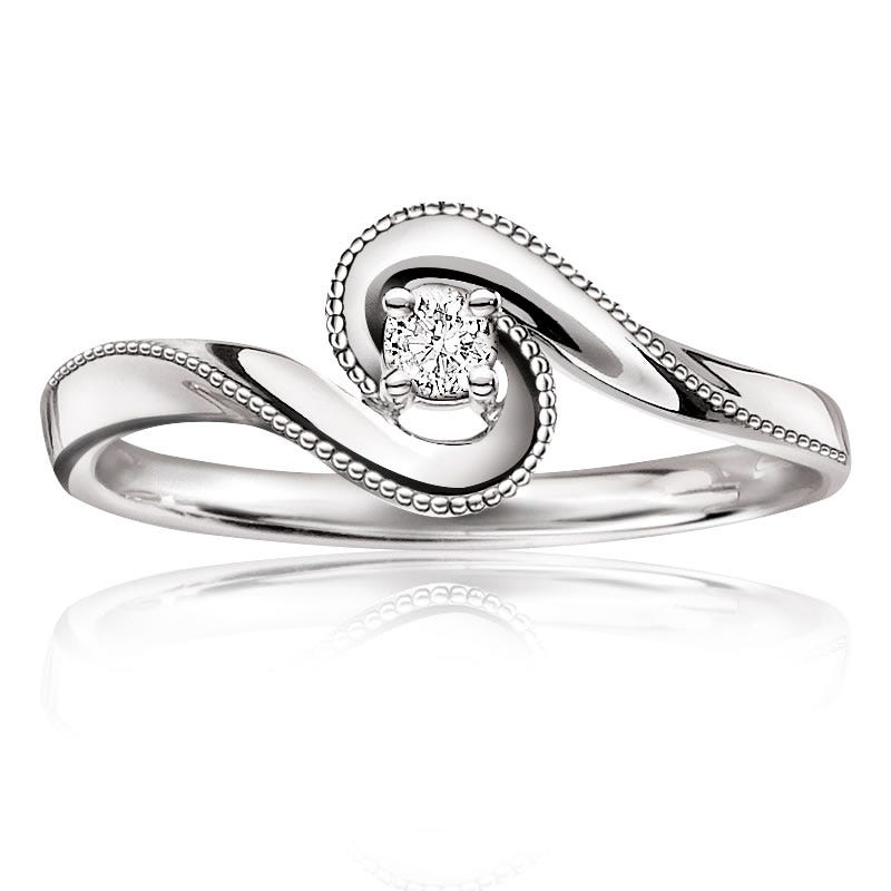 Diamond Embrace Promise Ring in 10k White Gold