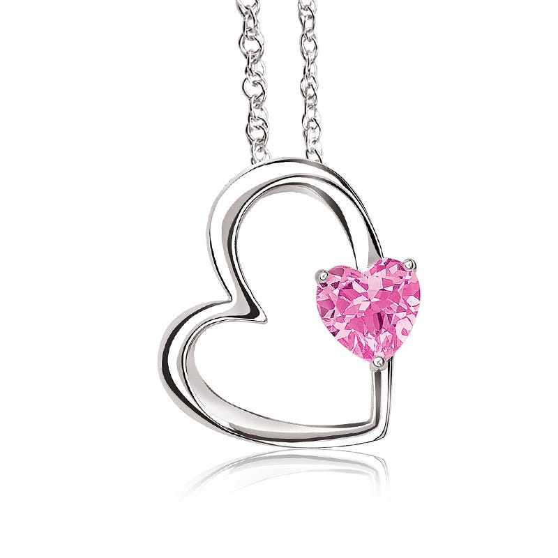 Pink Gemstone Heart Pendant in Sterling Silver