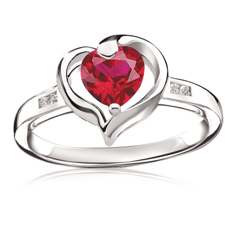 Created Ruby & Diamond Heart Ring in Sterling Silver