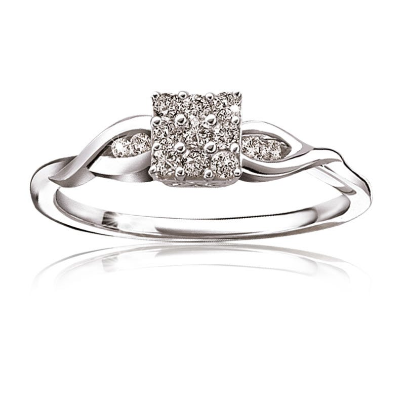 Square Diamond Promise Ring 1/5ctw.