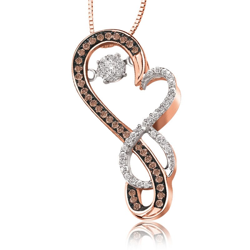 Beats of Love Champagne Diamond Heart Pendant in 10k Rose Gold