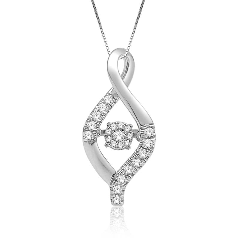 Beats of Love Curves Diamond Drop Pendant in Sterling Silver