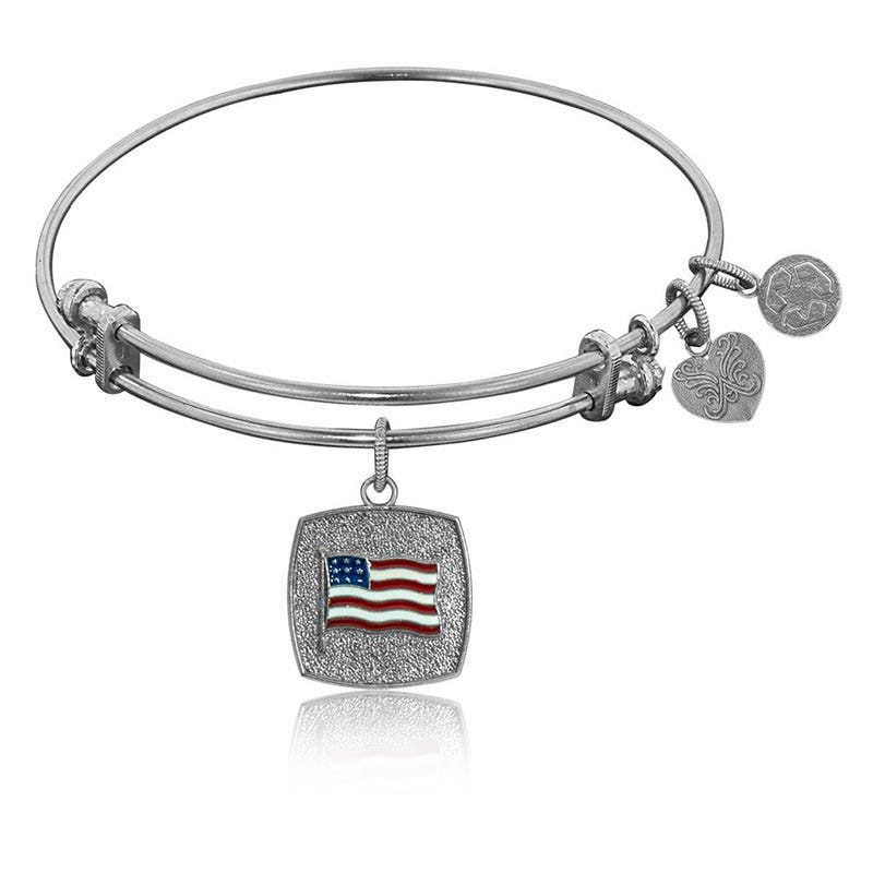 American Flag Charm Bangle Bracelet in White Brass