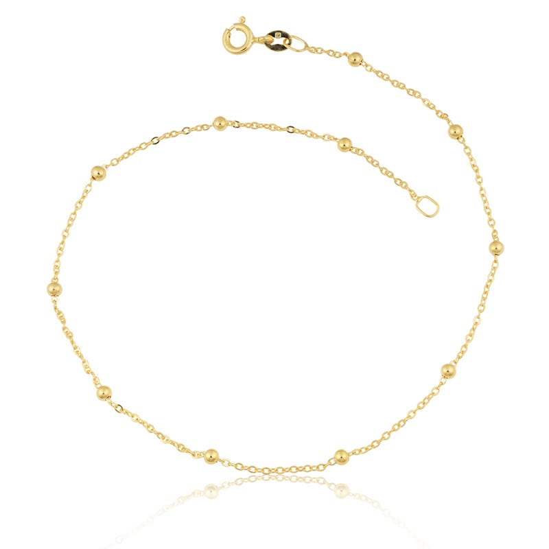 Flat Cable Saturn Anklet in 14k Yellow Gold