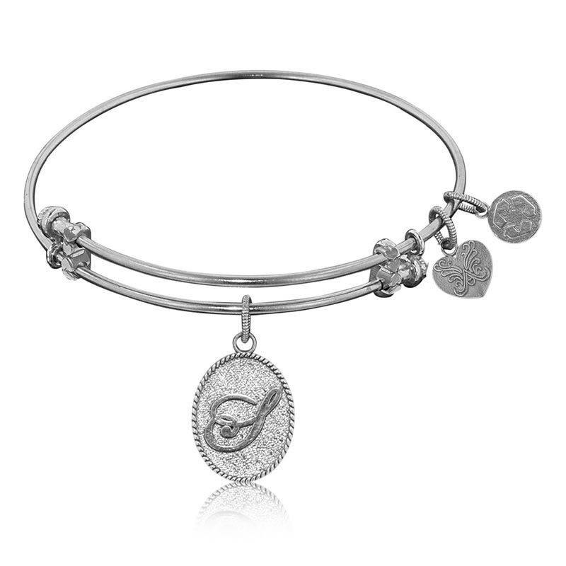 Initial S Charm Bangle Bracelet in White Brass