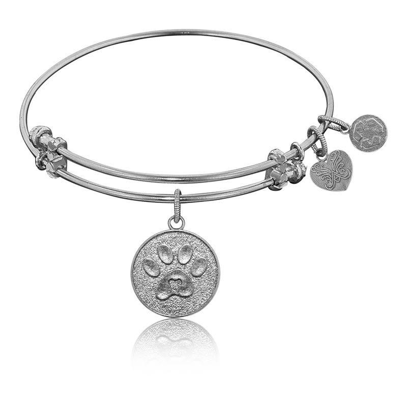 Paw Print Charm Bangle Bracelet in White Brass