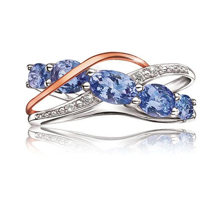Tanzanite & Diamond Ring in 10k Rose Gold & Sterling Silver