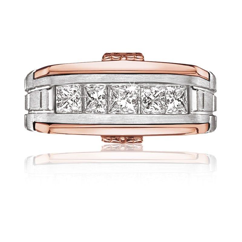 JK Crown® Men's 1ct. Diamond Ring in 10K White & Rose Gold