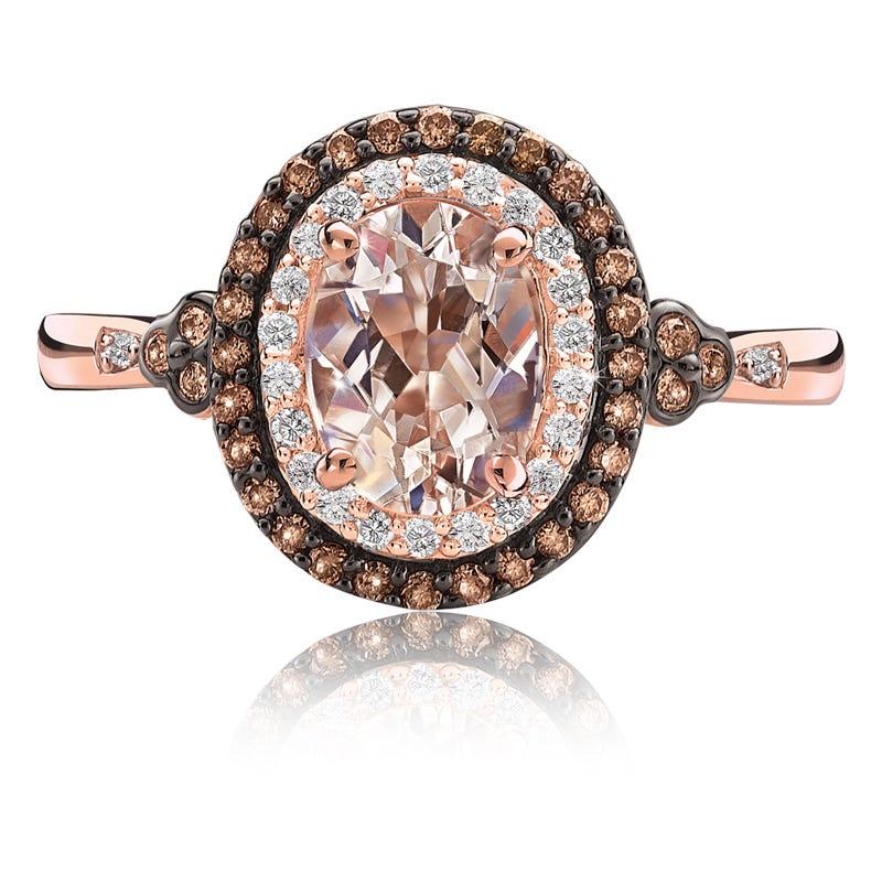 JK Crown® Morganite & Double Diamond Halo Ring in Rose Gold
