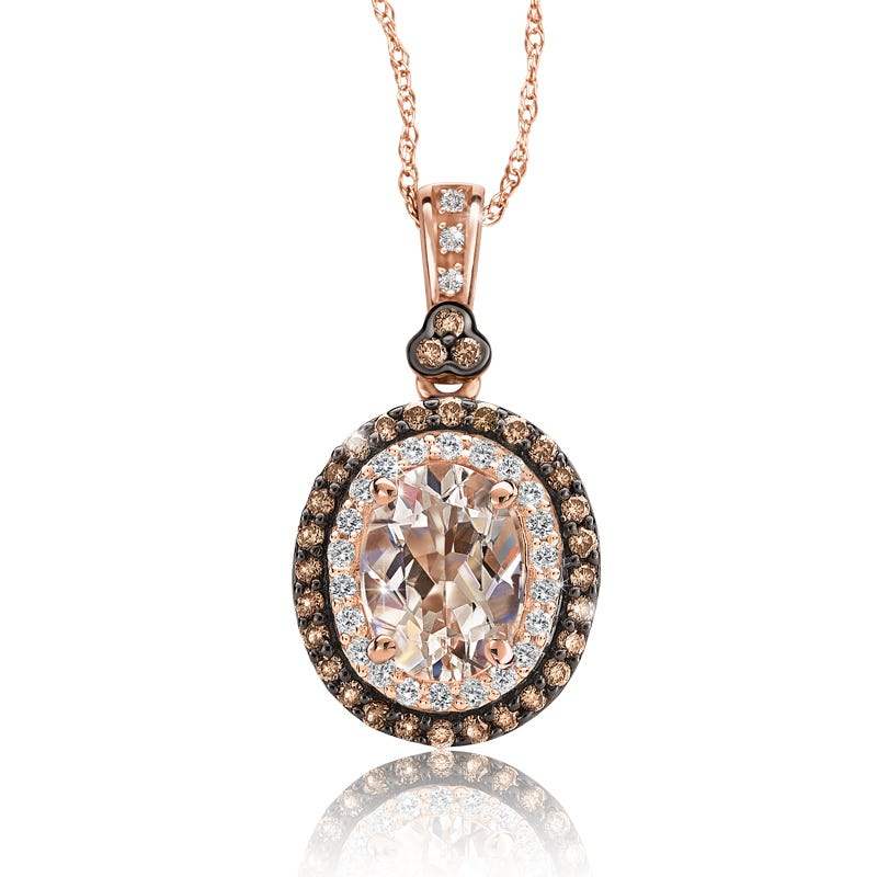 JK Crown® Morganite & Champagne Diamond Halo Pendant in 10k Rose Gold