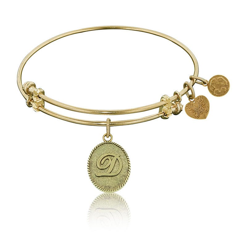 Initial D Charm Bangle Bracelet in Yellow Brass
