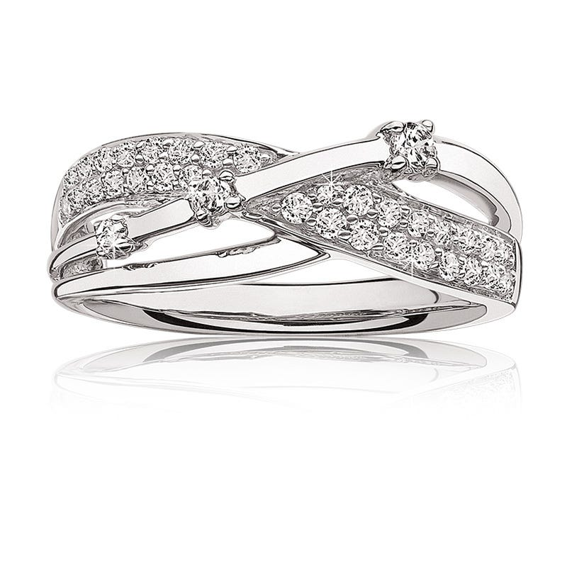 Diamond Pave Bypass Ring in 10k White Gold
