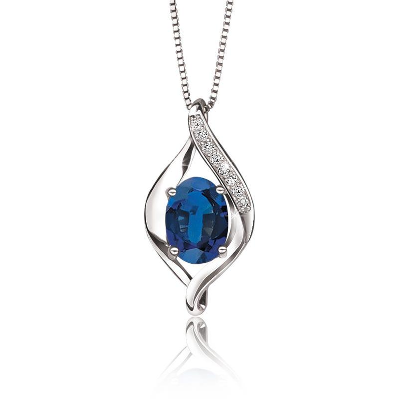 Sapphire & Diamond Drop Pendant 10k White Gold