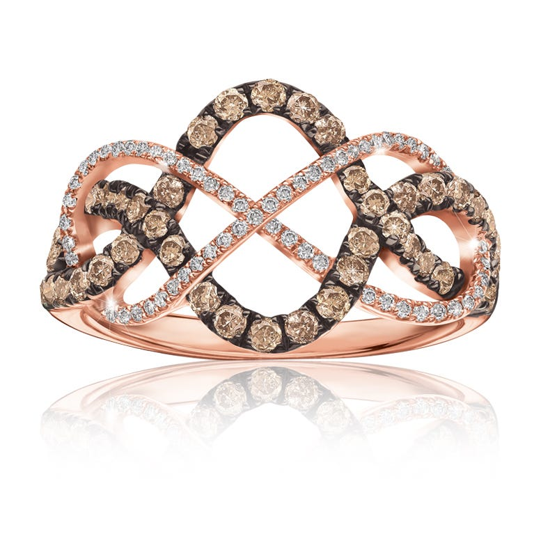 Champagne & White 3/4ct. t.w. Diamond Ring in 14k Rose Gold