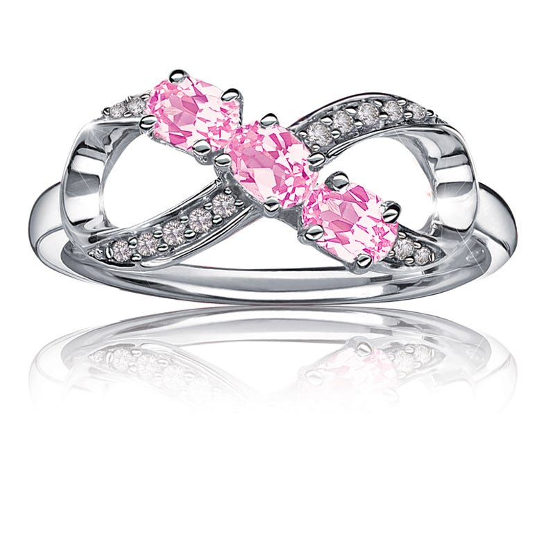 Created Pink Sapphire & Diamond Infinity Ring in Sterling Silver