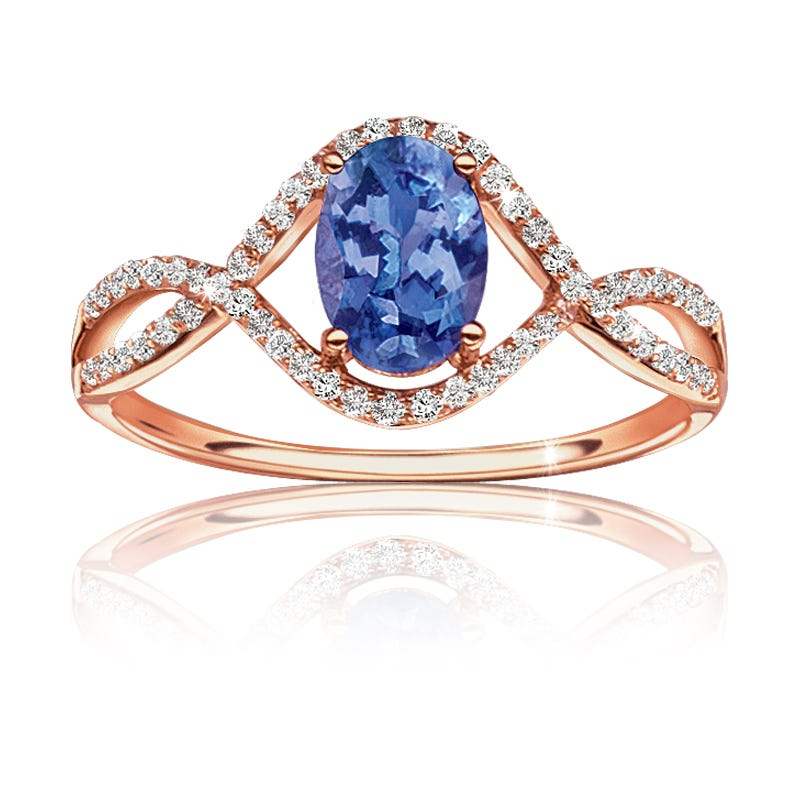Oval Tanzanite & Diamond Ring in 14k Rose Gold