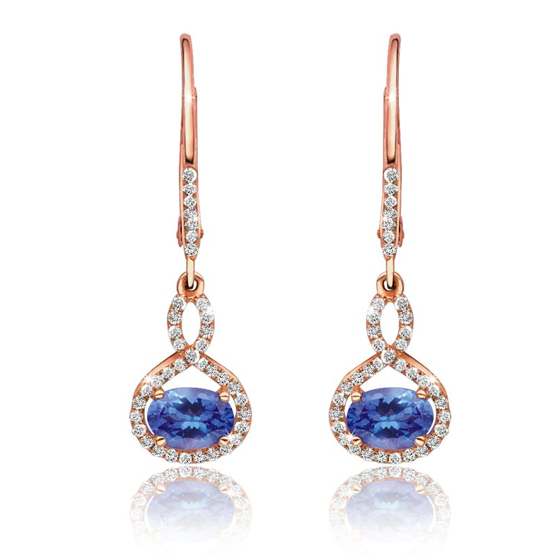 Oval Tanzanite & Diamond Dangle Earrings in 14k Rose Gold