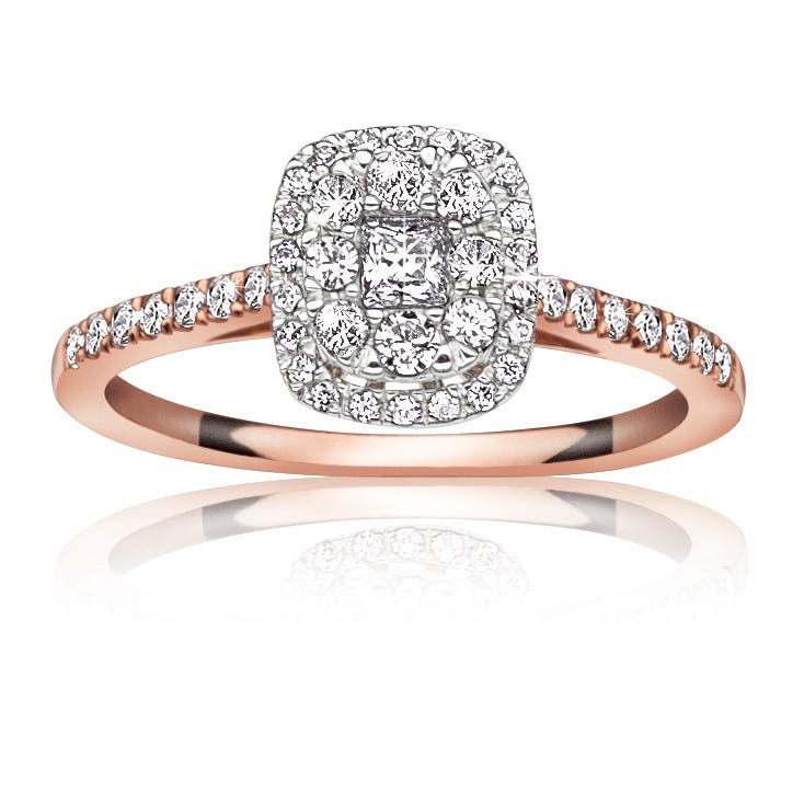 Jules. 1/2ctw. Diamond Halo Pavé Engagement Ring in 14K White Gold & Rose