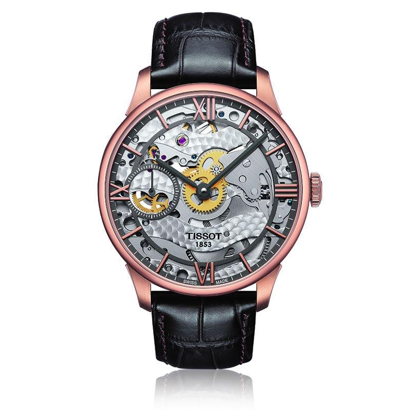 Tissot Men's Chemin Des Tourelles Squeletter Mechanical Skeleton Watch T0994053641800