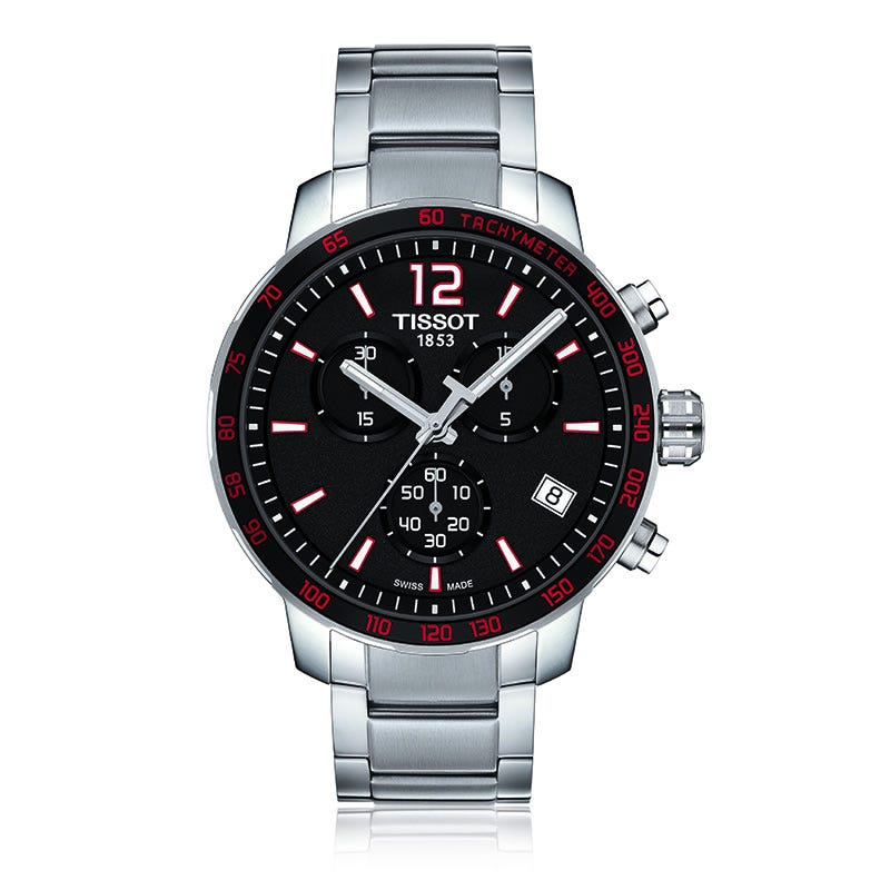 Tissot Quickster Quartz Chrono Black & Red Dial Men's Watch T0954171105700