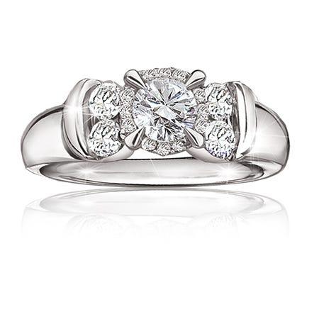 Shaylene. 1ct. Brilliant-Cut Diamond Engagement Ring in 14K White Gold