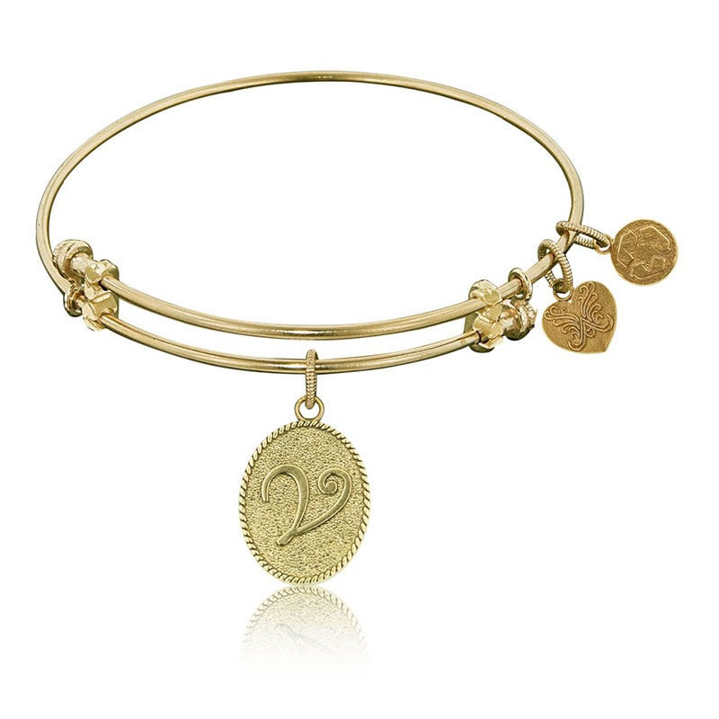 Initial V Charm Bangle Bracelet in Yellow Brass