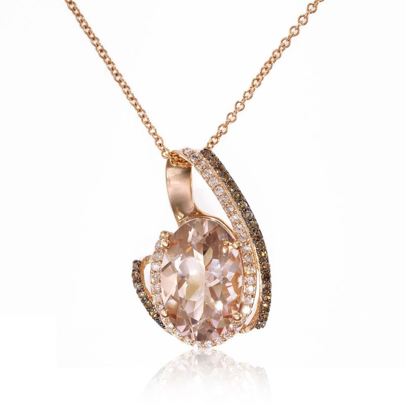 EFFY Oval Morganite Pendant with Brown & White Diamonds