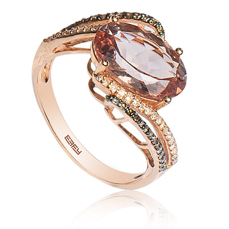EFFY Oval Morganite Ring with Brown & White Diamonds in 14k Rose Gold